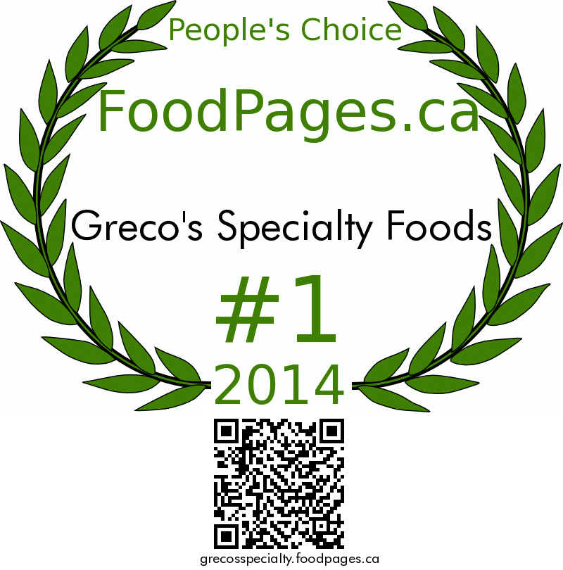 Greco's Specialty Foods FoodPages.ca 2014 Award Winner