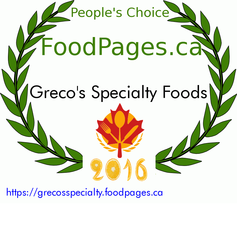 Greco's Specialty Foods FoodPages.ca 2016 Award Winner