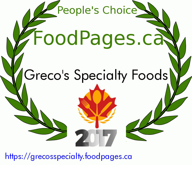 Greco's Specialty Foods FoodPages.ca 2017 Award Winner